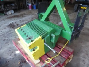 John Deere front weight frame and 14 weights