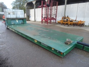 2013 Bailey 7T 21ft flatbed low load trailer, chequer plate floor, hydraulic end wheels