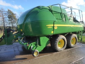 2015 John Deere L1534 tandem axle large square baler, 7219 bales, ex-demo purchased 2017, hydraulic brakes, humidity sensor, 560/45/22,5 tyres